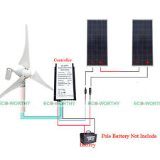 400W Wind Turbine + 20A Charge Controller +320W Poly Solar Panel for 24V Battery