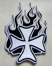Black Fire Burn White Iron Cross Embroidered Iron on Patch Free Shipping