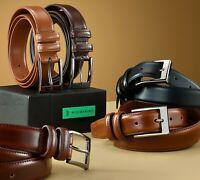 Mio Marino Men's Genuine Leather Dress Belt with Single Prong Buckle