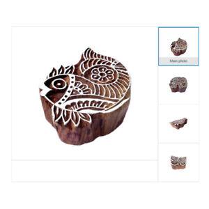 Indian DIY Handicraft Animal Wooden Block Henna Fabric Textile Printing Stamps