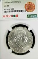 1948 MEXICO SILVER UN PESO NGC AU 58 NICE COIN LOW MINTAGE BETTER DATE