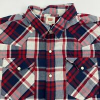 Levis Pearl Snap Shirt Mens Large Multicolor Plaid Short Sleeve Casual Western