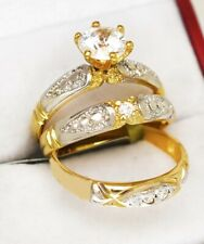 WHITE SAPPHIRES  2.16 Cts TRIO WEDDING RING SET 14K YELLOW GOLD **Free Shipping