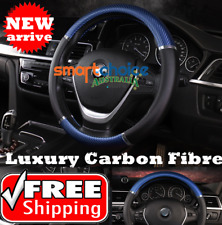 Carbon Fiber Blue  Auto Car Steering Wheel Cover PU Leather Universal Car Cover