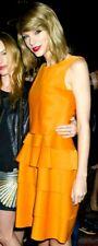 New NWT Oscar de la Renta 2014 Orange Belted Celebrity Cocktail Dress IT 42 US 6