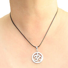 Om Ohm Symbol Charm Pendant Necklace with Black Cord