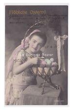 RPH 1905 AK Ostern cartolina fotografica Pasqua bambina cesto uova colorate
