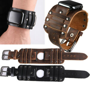Leather Cuff Watch Band for Iwatch Apple Watch 42/44mm Series 6 SE 5 4 3 2 1