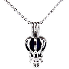 """K536 Silver Alloy 26mm Travel Hot Air Balloon Bead Cage Open Locket Necklace 18"""""""