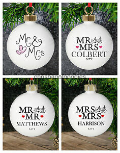 PERSONALISED MR & MRS CHRISTMAS TREE BAUBLE Gifts for 1st First TOGETHER COUPLE