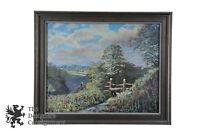 Vintage Original Oil Painting on Board Landscape Vista Valley Floral Clouds Art