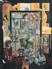 1987 Abstract surrealist collage painting signed
