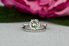 Genuine 1.50CT Off White Yellow Moissanite 925 Silver Engagement Ring Set+Gift