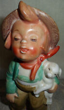 Antique 1956 Ceramic Country Boy Lamb Figurine Japan Collectible Curio Figure LM
