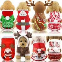 Christmas Puppy Dog Jumper Outfit Pet Xmas Reindeer Costume Hoodie Clothes Coat/