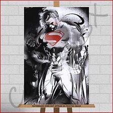 Superman Framed Box Canvas Print Picture Marvel DC Paint Splash Splatter A3+