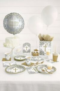 Communion Confirmation Christening Tableware Balloons Decorations Gold Cross