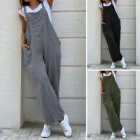 ZANZEA Femme 100% coton Jumpsuit Poches Sans Manche Pantalon Jambe Large Plus