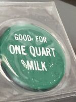 Coin, Valley Dairy One Quart Milk Green Token Coin Vintage Collectable P3