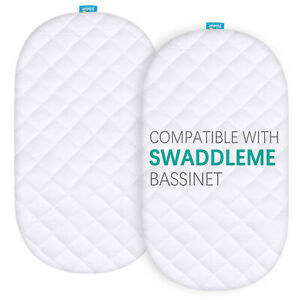 Bamboo Bassinet Mattress Cover Fits for SwaddleMe by Your Side Sleeper 2 Pack