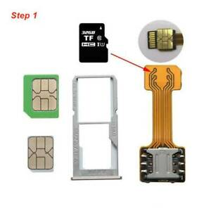 TF Hybrid Sim Slot Dual SIM Card Adapter Micro SD Extender For Android Phone ST