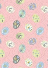 Fat Quarter Salisbury Spring Painted Eggs Easter Pink Cotton Quilting Fabric