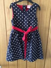 Laura Ashley Girls Age 2-3 Navy Spot With Red Bow Dress 100% Cotton