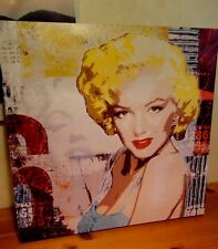 """PREOWNED 16X16"""" Marilyn Monroe VINYL STRETCH OVER WOOD COLORFUL- Art Wall Decor"""