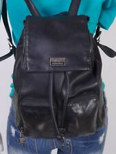 PERLINA Medium Black Leather Shoulder Hobo Tote Satchel Purse Bag Backpack