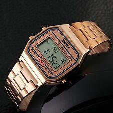 Classic Retro Vintage Style Gold Silver Mens Ladies Digital Metal LCD Watch