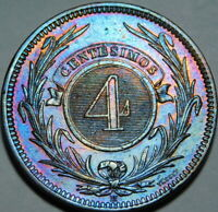 1869 Uruguay 4 Centimos Beautifully Toned and Cleaned A30-397