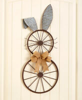 Bicycle Wheel Spring Easter Bunny Metal Wall Decor Rustic Country Home Decor