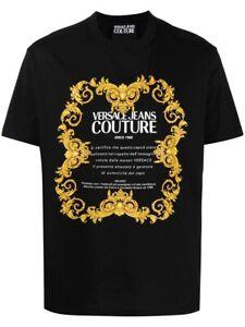 Versace Jeans Couture Black T-Shirt Baroque Logo Print L