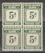 BRITISH SOLOMON ISLANDS 1940 POSTAGE DUE 5D BLOCK MNH **