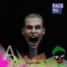 "Custom 1/6 Scream Joker Head Sculpt For 12"" Hot Toys Suicide Squad Jared Leto"
