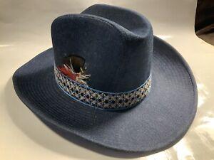 Vintage Blue Denim Jean Cowboy Western Hat Large 7 1/4- 7 3/8 YR GW Korea