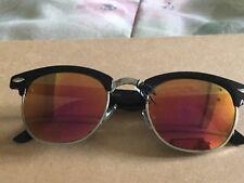 Men's NWT BLACK Browline Sunglasses - Reflective Lenses, HAND POLISHED FRAME