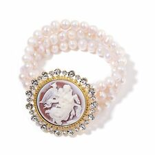 FRESHWATER GENUINE PEARL AUSTRIAN CRYSTAL CAMEO STRETCHABLE GOLD TONE BRACELET