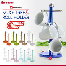 6 Mug Tree and Kitchen Roll Holder Stand Stainless Steel Storage Rack Set