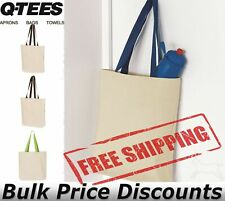 Q-Tees 11Lt Canvas Tote with Contrast-Color Handles Shopping Bag Q4400 15x15x3
