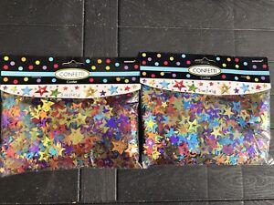 2 ~Multicolor Stars Confetti 5oz. Pack Party Decor Metallic Foil Stars