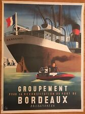 "Original vintage poster ""Reconstitution du port de Bordeaux"" Editions T.A."