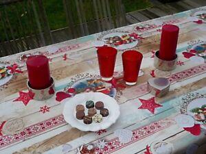 Tischdecke Provence 150x200 cm beige rot Weihnachten aus Frankreich bügelfrei