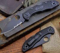 "Spyderco Delica 4 Folding Pocket EDC Knife 2.9"" VG10 TiCN Blade Black FRN Handle"