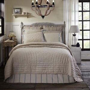 VHC Brands Farmhouse Queen Quilt Tan Charlotte Textured Cotton Bedroom Decor