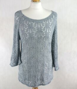 Womens PHASE EIGHT Knitted Lightweight Jumper Tunic Size UK10 Sweater Scoop neck
