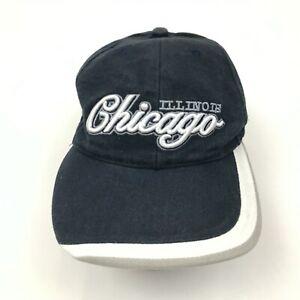 VINTAGE Chicago Hat Cap Strapback Blue White Adult Embroidered Adjustable OSFA