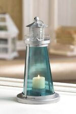 "10 Watch Tower Lighthouse Candle Lanterns w/ Blue Glass Nautical Decor 9.5"" High"
