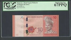 Malaysia 10 Ringgit ND (2012) P53 Uncirculated Graded 67