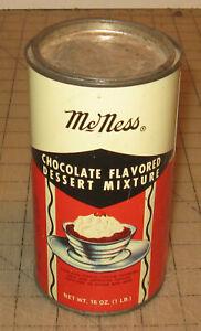 "Vintage McNESS Chocolate Flavored Dessert Mixture 6"" Tall 16oz Empty Tin"